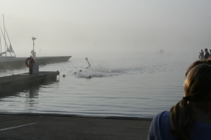 My husband's first triathlon swim had zero visibility and swimmers had to be lead by a boat through the course!