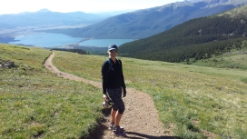 Twin Lakes in background climbing Mt Elbert